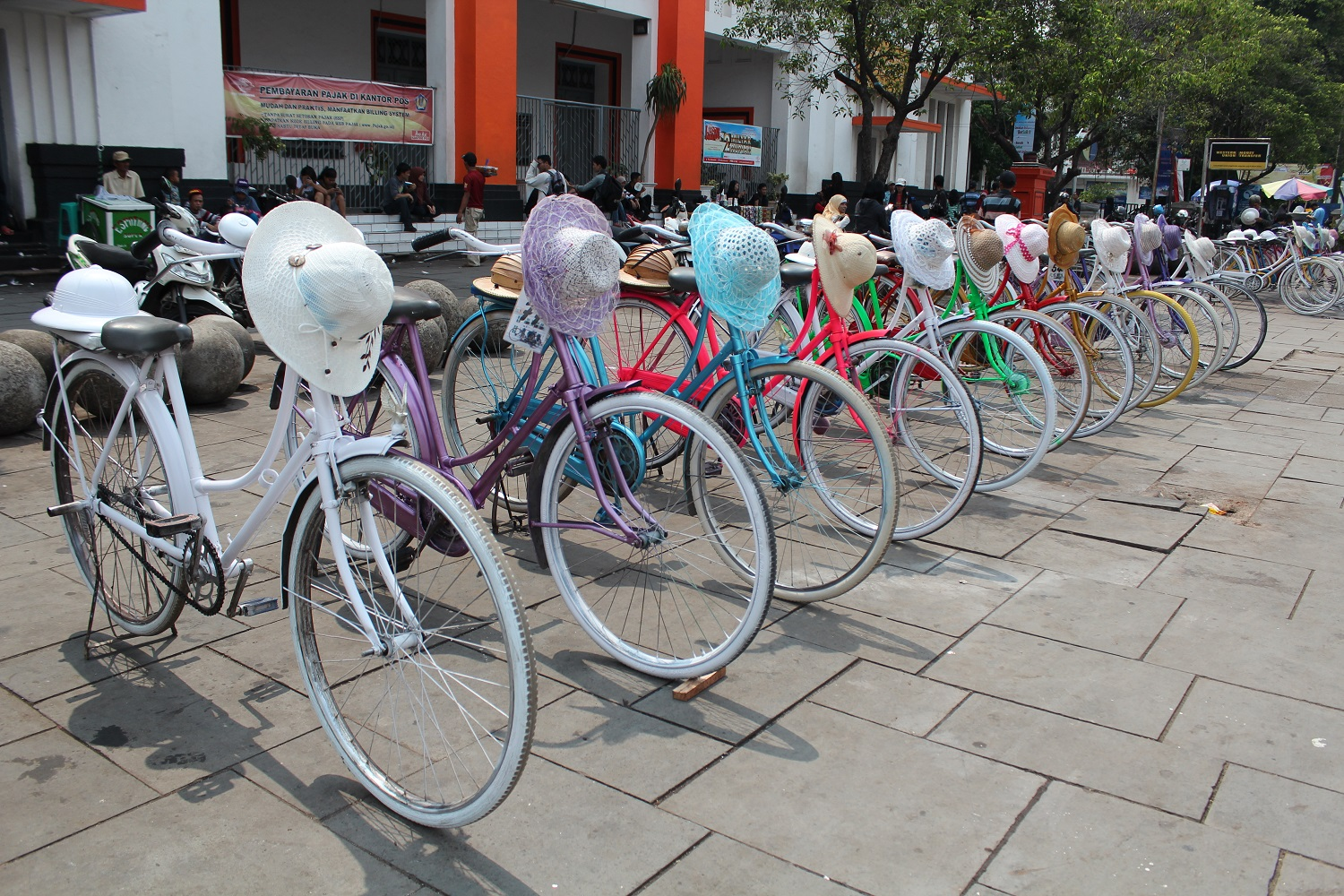 colorful bicycles in a row