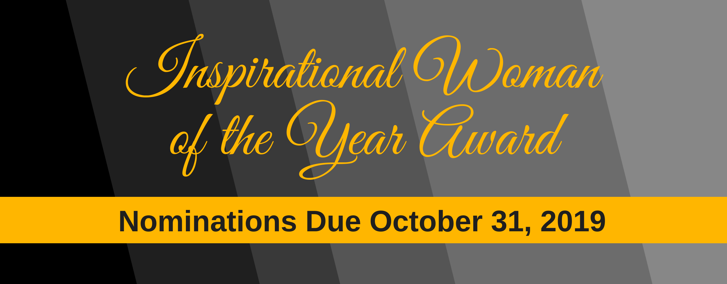 Inspirational Woman of the Year Award Banner - Deadline 10/31/19