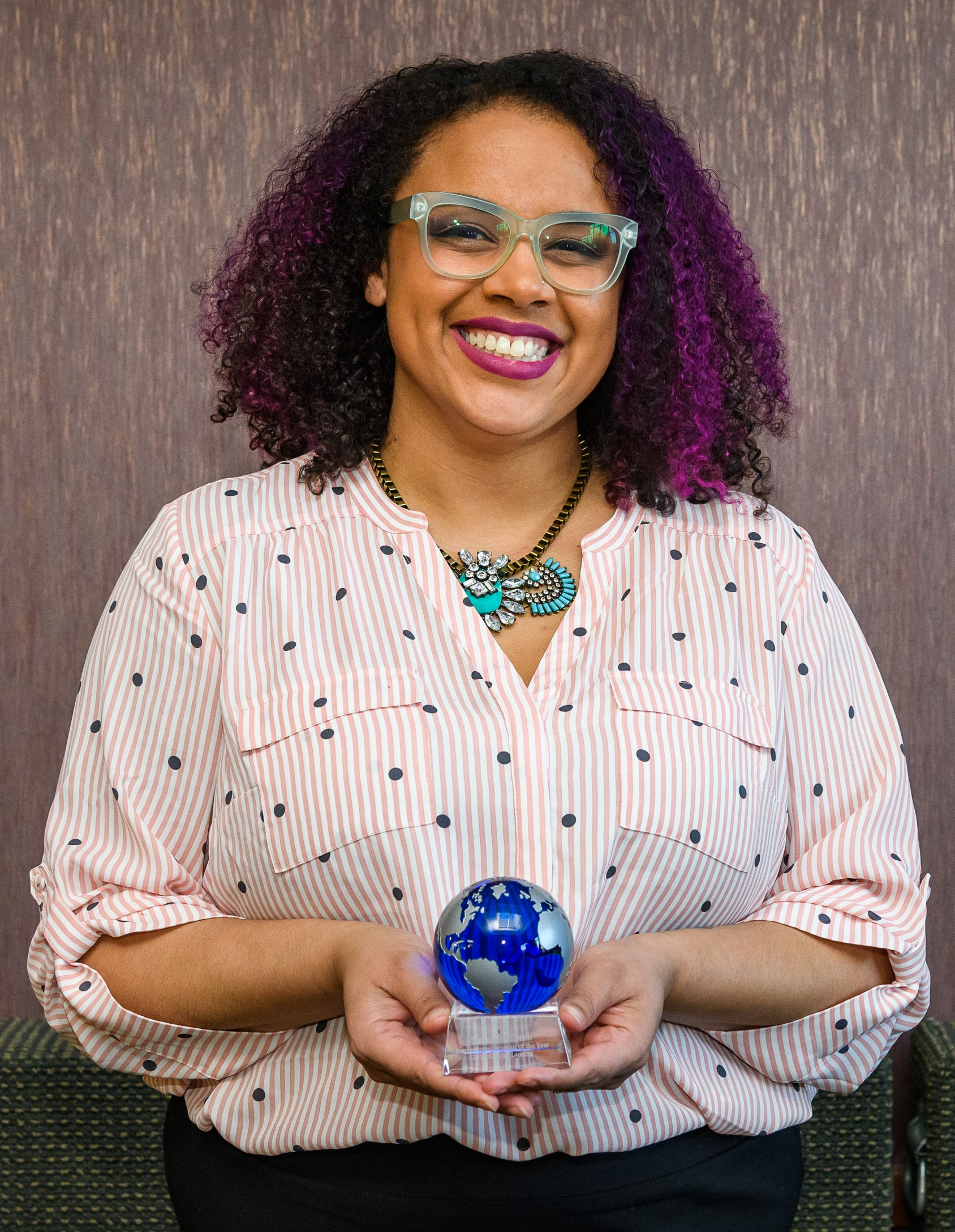 Tashmica Torok, the inaugural recipient of the Greater Lansing Inspirational Woman of the Year Award, in 2019.