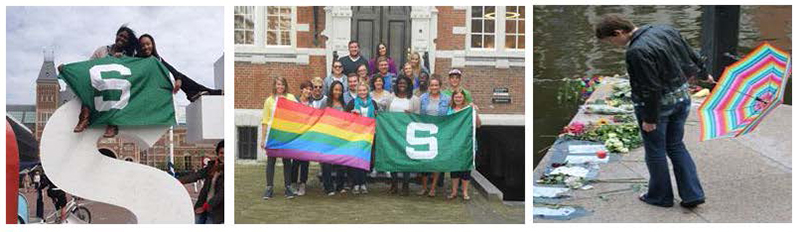 Study Abroad students with MSU flags